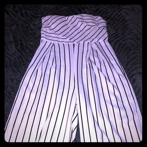 Pants - Black and white pinstripe jumpsuit